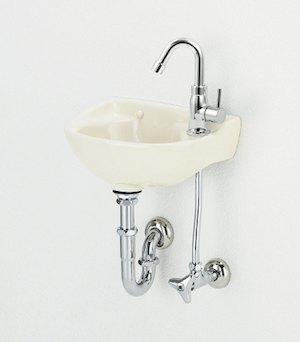 アサヒ衛陶 隅付手洗器セット Pトラップ アイボリー色 L13PSET