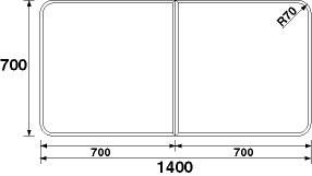 パナソニック 風呂フタ(長辺1400×短辺700:組みフタ:長方形:2枚:切り欠きなし) 【GA150C】 [納期2~4週間] [新品]