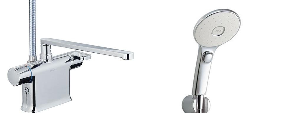 INAX・LIXIL 浴室水栓【BF-WM646TNSLM(300)】 シャワーバス水栓 デッキタイプ サーモスタット付シャワーバス水栓+エコアクアスイッチシャワー メッキ仕様 寒冷地対応商品 [イナックス・リクシル]