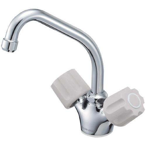 三栄水栓[SANEI] 混合水栓 キッチン用 ツーバルブワンホール混合栓 【K811V-LH-13-23】 ワンホールデッキタイプ混合栓 [蛇口][新品]
