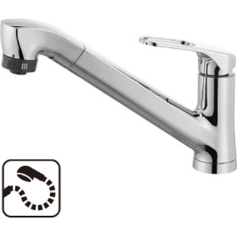 三栄水栓[SANEI]【K87120JK-U-13】シングルワンホールスプレー混合栓(省施工ナット付)[新品]