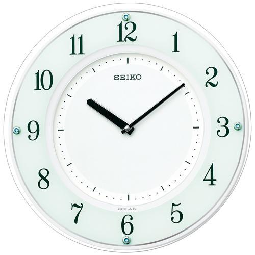 セイコー SF505W 掛け時計 薄型ソーラープラス