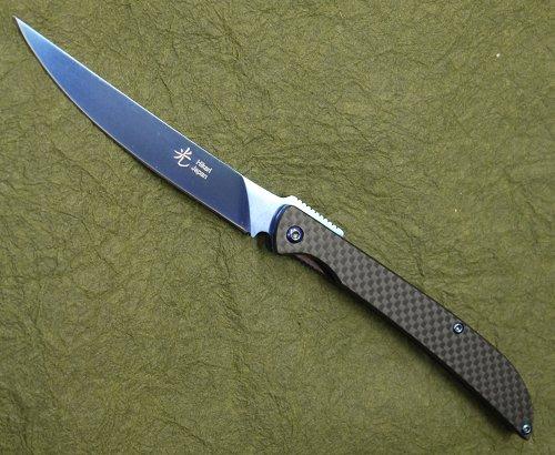 光(ヒカリ)フォールディング ステーキナイフD2 チタンコーティング カーボンファイバーフォールディングナイフ