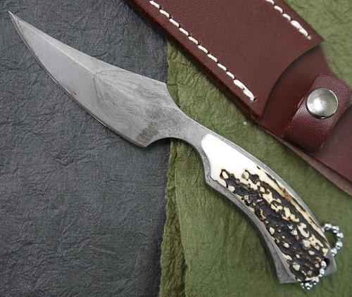 義(よし) K-6 刃長:70mmダマスカス鹿角ナイフシースナイフ 512層ダマスカス(USA製)