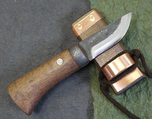 土居良明作ミニ剣鉈 両刃 2寸 60mm先フ型 茶柄 白紙2号鋼