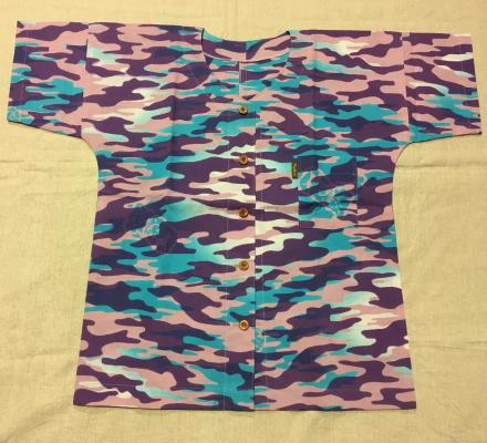 【ぬかやオリジナル】魚河岸シャツ迷彩 ピンク 木ボタン SS~L女性用【手造り】【涼感】