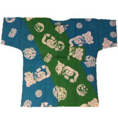 在庫限り!【ぬかやオリジナル】魚河岸シャツ緑×水色×白文字 S~LL男性用【手造り】【涼感】