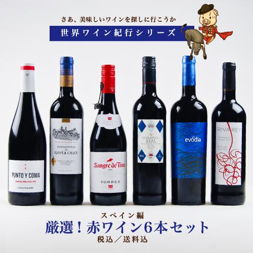 【世界ワイン紀行シリーズ】スペイン編 厳選! 《赤》ワイン6本セット 【送料無料】