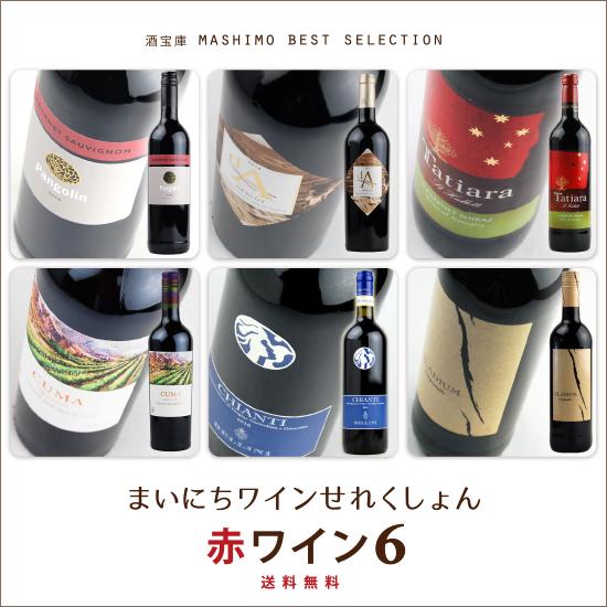 ※地域によって送料がかかる地域があります 北海道 沖縄 離島地域 超人気 東北 送料無料 《赤ワインセット》 酒宝庫MASHIMO ベストコレクション6本入 贈呈 九州