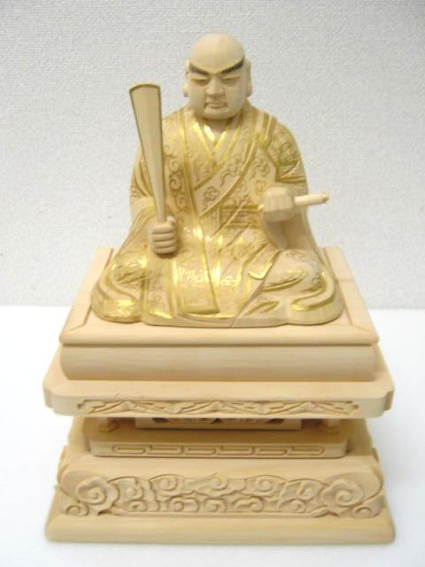 【仏像・本尊】【日蓮上人】 日蓮聖人木像 2.5寸 柘植(つげ) 【日蓮宗向け】