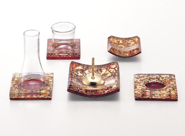 【現代仏具 五具足】 アランチャ 【ガラス・真鍮製・モダン】【八木研】