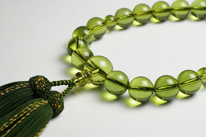 【数珠・念珠】最高級天然石念珠 14mmグリーンアンバー数珠