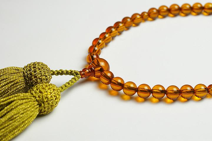 【数珠・念珠】最高級天然石念珠 7mm琥珀(コハク)数珠