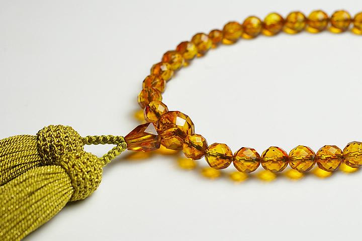 【数珠・念珠】最高級天然石念珠 8mmカット 琥珀(コハク)数珠