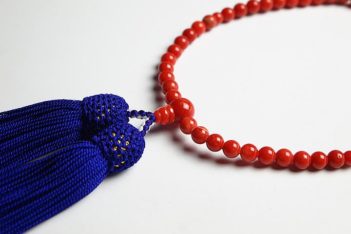 【最高級天然石念珠】4.7mm地中海産天然赤サンゴ(赤珊瑚) 鑑別書付【数珠】