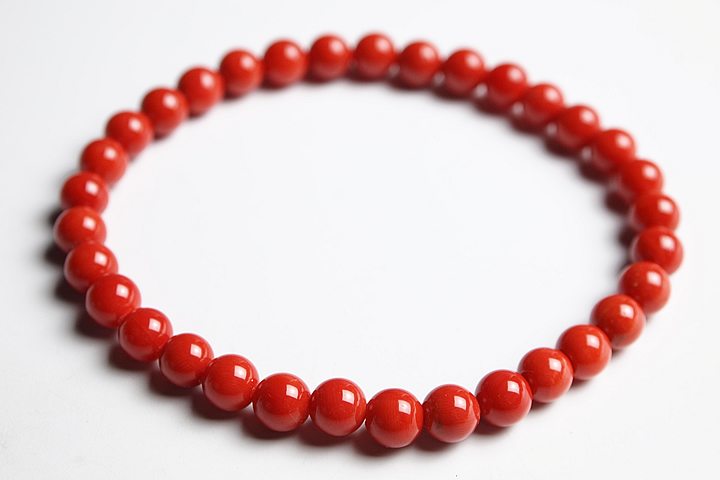 【数珠・念珠】6mm地中海産天然赤サンゴ(赤珊瑚)ブレス ファイナルグレード鑑別書付【ブレスレット】