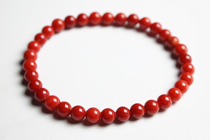 【数珠・念珠】5.5mm地中海産天然赤サンゴ(赤珊瑚)ブレス ファイナルグレード鑑別書付【ブレスレット】