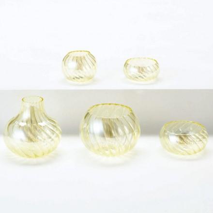 【現代仏具 五具足】 ブルボ・イエロー 【ガラス製・モダン】【八木研】