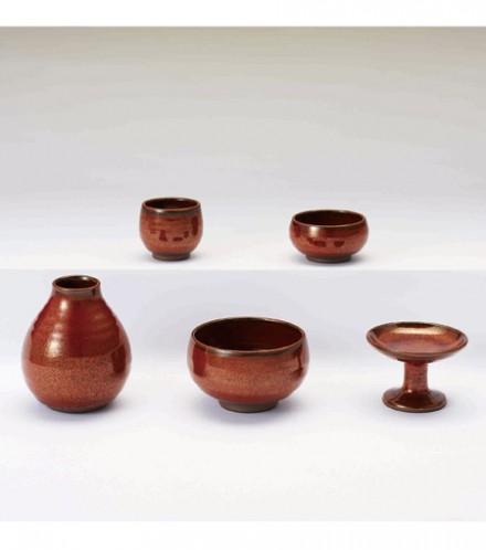 【現代仏具 五具足】 小浜 【陶器製・モダン・ミニ仏具】【八木研】