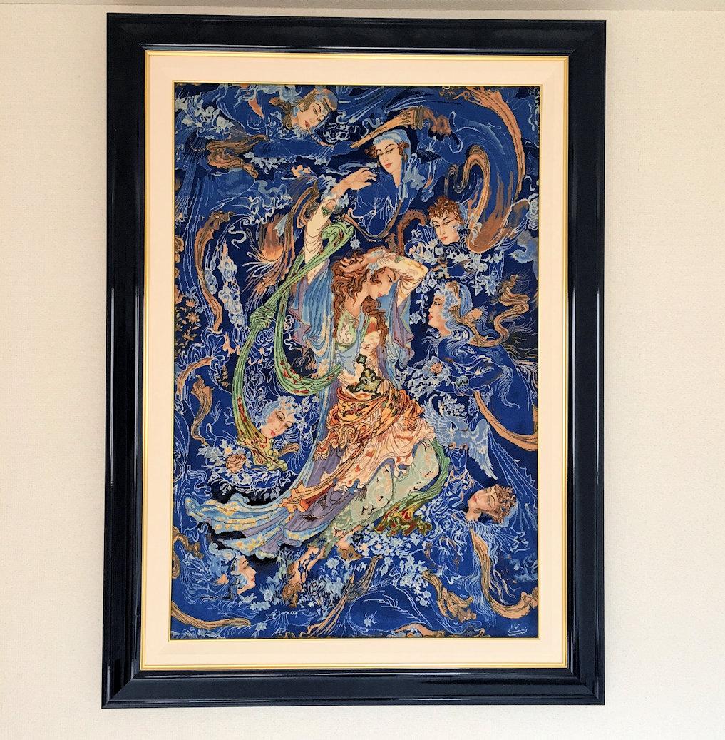 ペルシャカーペット絵画絨毯 アリナザブ工房 タブリーズ 手織り アート