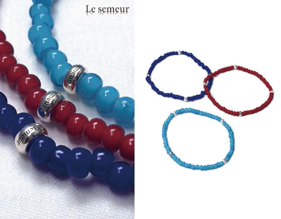 【3色から選択可能】 Le semeur ルスムール ホワイトハーツ x シルバービーズ ブレスレット White Hearts & 3SV Beads bracelet (3色)