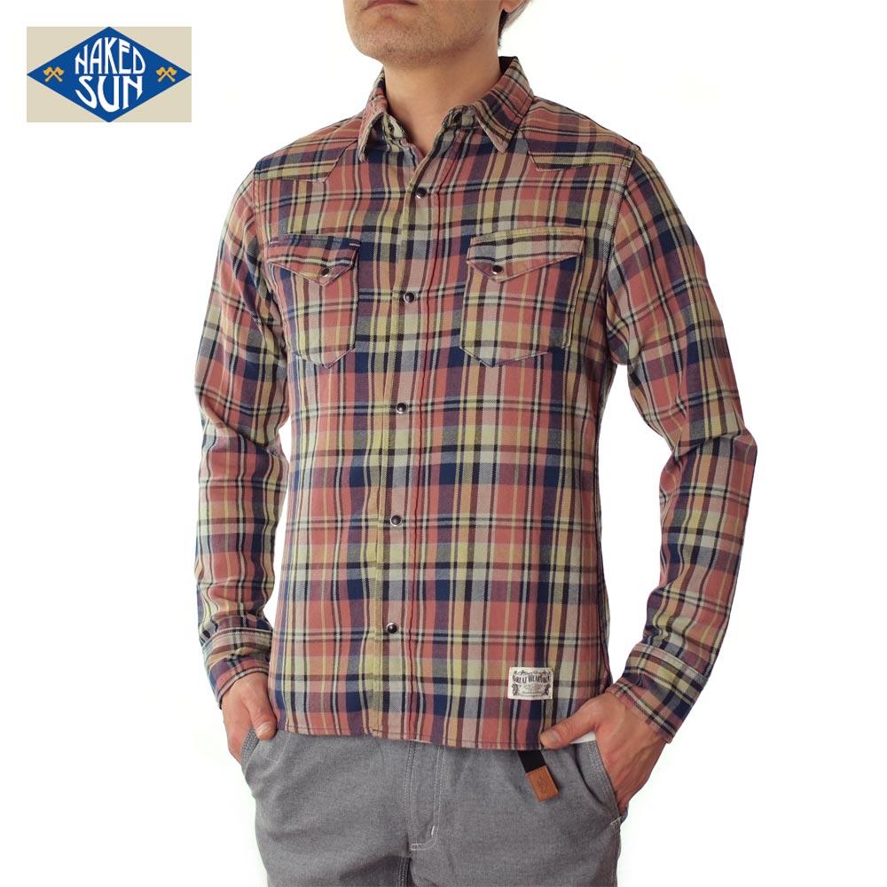 NAKED SUN ネイキッドサン 27MW WESTERN CHECK SHIRTS ウエスタンチェックシャツ 017003002-RED★★★★★