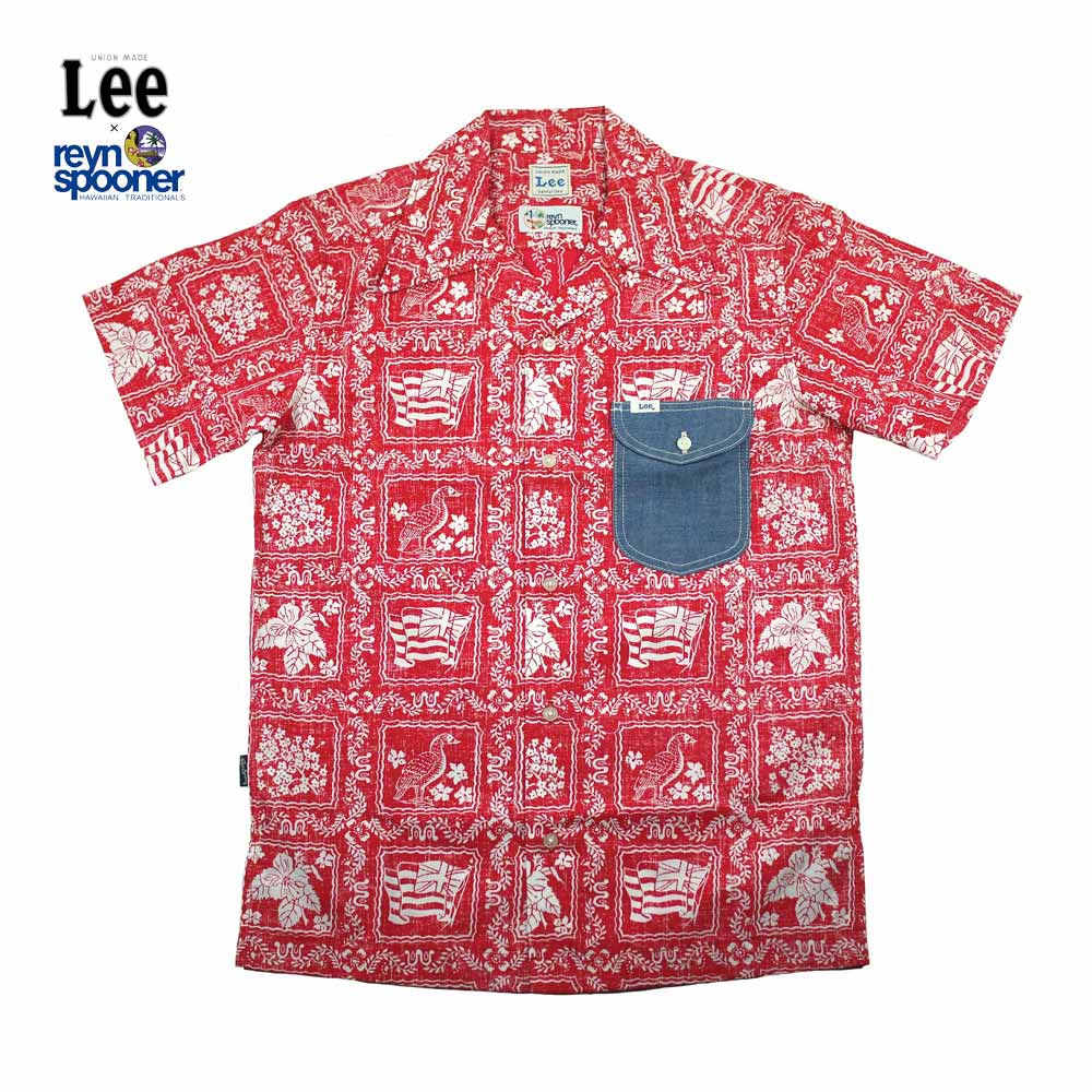 Lee × REYN SPOONER リー × レインスプーナー OPEN COLLOR SHIRTS LS1238-09(RED)★★★