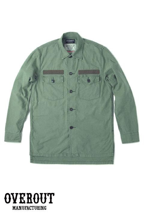 OVEROUT オーバーアウト MILITARY SHIRTS ミリタリーシャツ (OLIVE)