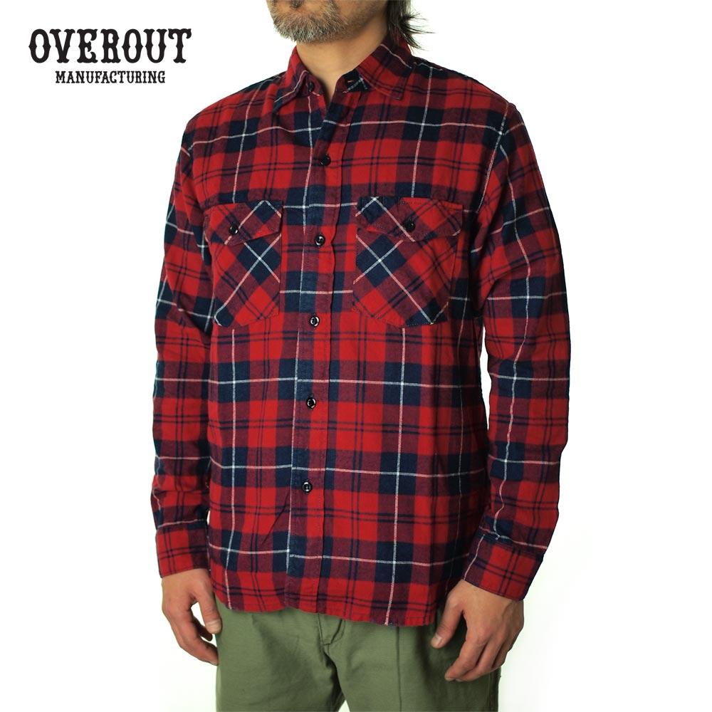 OVEROUT オーバーアウト VINTAGE CHECK SHIRTS ヴィンテージチェックシャツ 003029001-RED