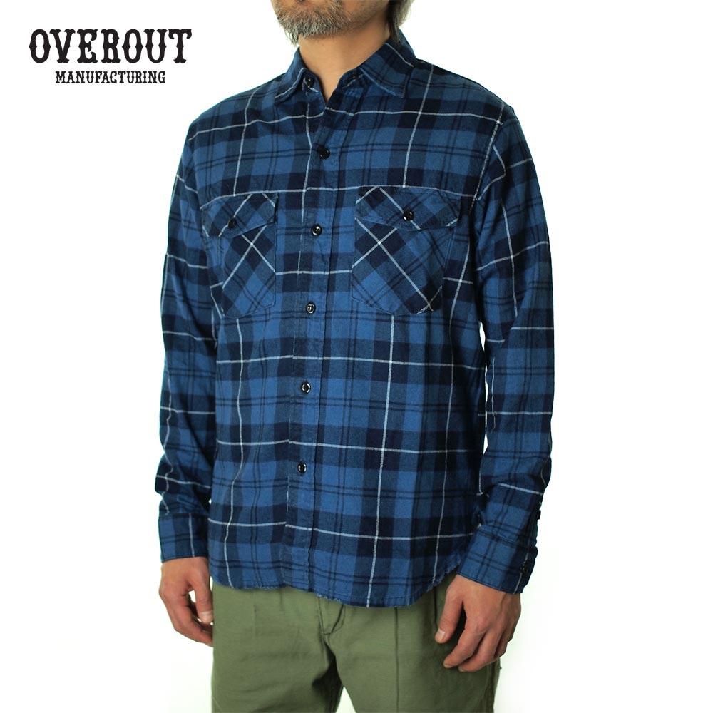 OVEROUT オーバーアウト VINTAGE CHECK SHIRTS ヴィンテージチェックシャツ 003029001-BLUE