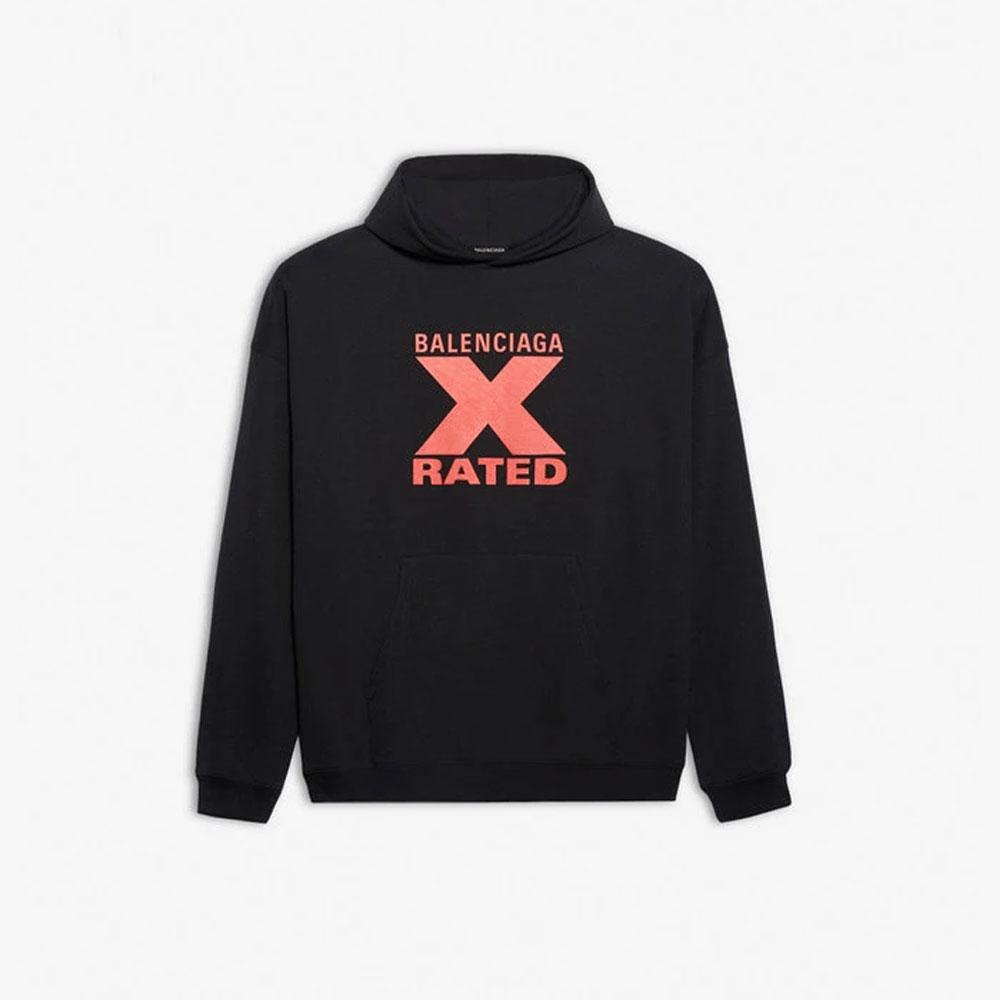 バレンシアガ BALENCIAGA X-RATED パーカー ユニセックス ブラック 2020AW  001620973tiva8 【お買上げ11,000円以上で送料無料!!】
