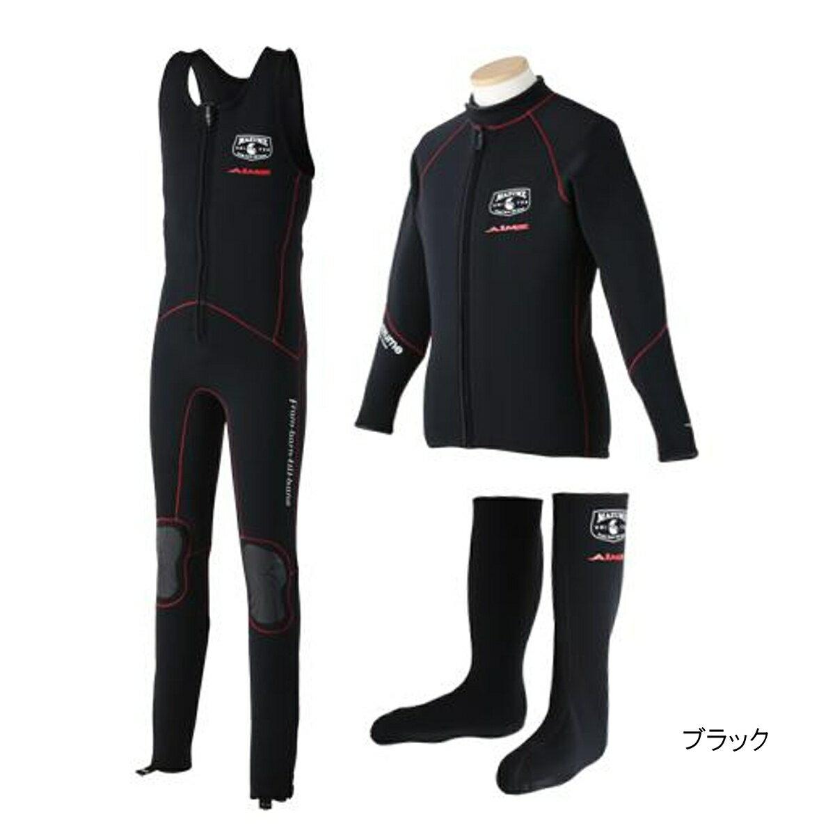 マズメ×エイムス ウェットスーツ3点セット MZWS-320 L ブラック【送料無料】