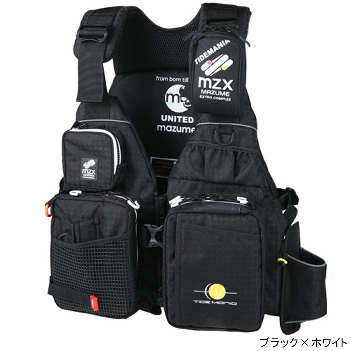 オレンジブルー mazume MZX タイドマニアライフジャケット MZXLJ-049 フリー ブラック×ホワイト【送料無料】