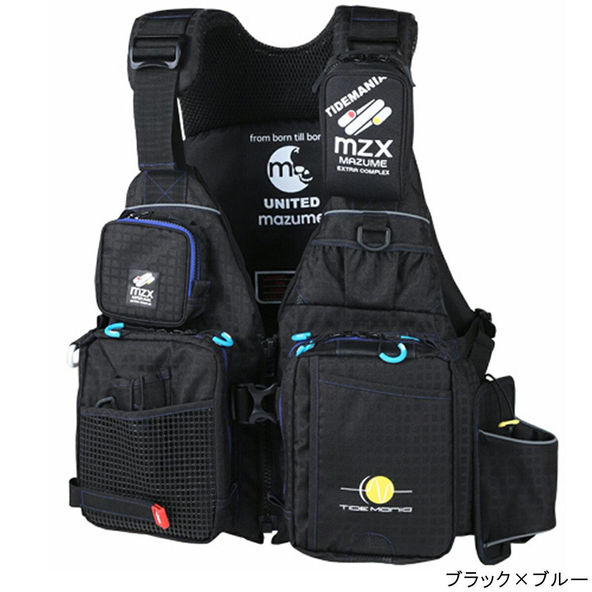 オレンジブルー mazume MZX タイドマニアライフジャケット MZXLJ-049 フリー ブラック×ブルー【送料無料】