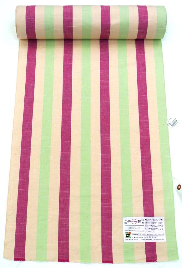 【着物】 木綿 単衣 伊勢木綿 赤紫クリーム黄緑縞 【臼井織布】 【お仕立て込】