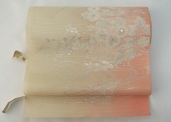 夏九寸名古屋帯 ピンク地白花柄