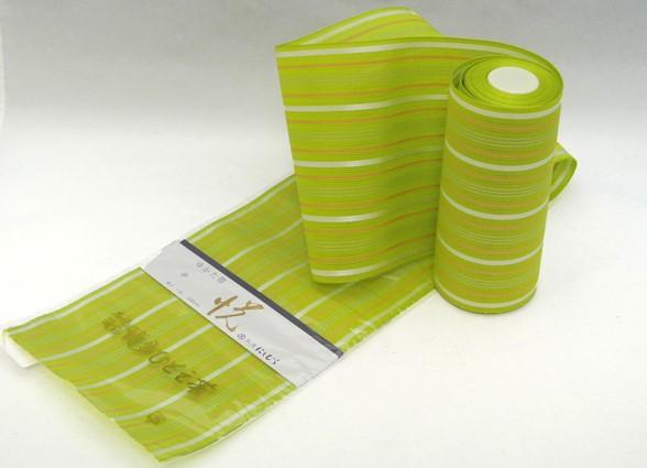 【にしむら織物】 紗 博多ひとえ帯 【悦】 黄緑