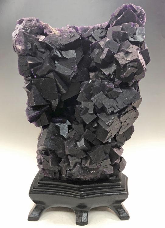 フローライト 蛍石 原石 台付き 鑑賞石 約24kg ブラックフローライト 黒蛍石 パープルフローライト 紫蛍石 【希少】 パワーストーン