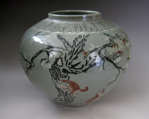 高麗青磁 辰砂 動物文壺 猫 鳥 高さ約24cm 李朝 陶磁器 韓国 朝鮮