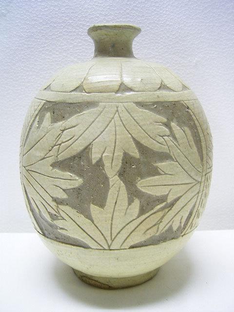 鶏龍山 粉青沙器 掻落扁壺 高さ約21cm 李朝 韓国 朝鮮 美品