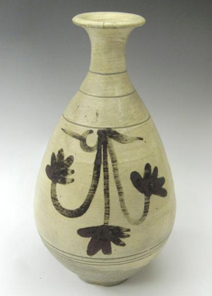鶏龍山 粉青沙器 鉄絵刷毛目徳利 H28.5cm 韓国 花瓶 李朝 花生