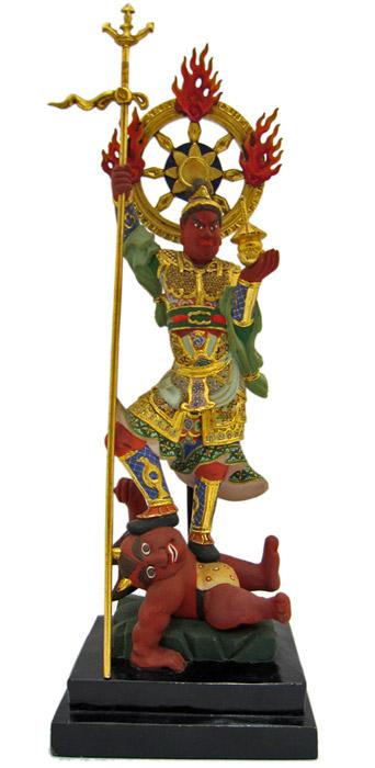毘沙門天像(極彩色) 木彫り彫刻・仏像 七福神