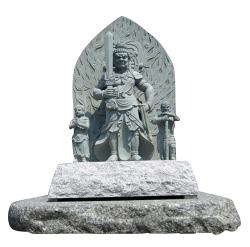 不動明王 不動三尊 像 青御影石 彫刻 石仏 仏像販売 石像 矜羯羅童子 制多迦童子