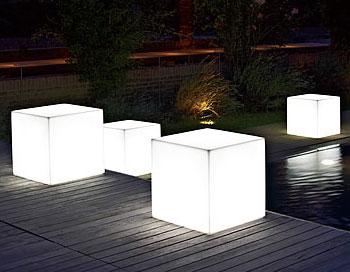 ライト付き 光るオブジェ キューブ50 (高さ50cm) ユーロ・スリープラスト ER-2517L 【屋外仕様】 照明 Euro 3 Plast Cube Light イルミネーション イタリア製 MADE IN ITALY