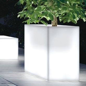 光るプランター カセッタキューブハイ ライト付き (高さ70cm 幅100cm) ユーロ・スリープラスト ER-2591L 【屋外仕様】 照明 Euro 3 Plast Cassetta Cube High Light イルミネーション イタリア製 MADE IN ITALY