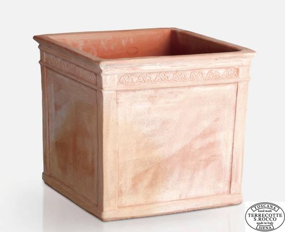 イタリア製テラコッタプランター リーフキューブ57 (幅57cm 高さ50cm) エスロッコ トスカーナ S.Rocco Tuscany Leaf Cube SR-704057 MADE IN ITALY 素焼き 植木鉢