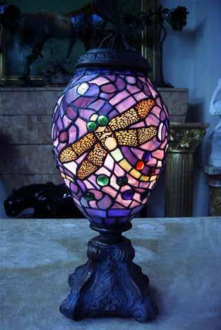 ステンドグラスランプ蜻蛉文ランプ 3