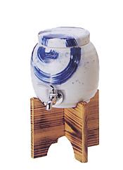刷毛渦マルチサーバー(木台付)焼酎サーバー 焼酎を入れて2・3日で熟成が進みまろやかな味に!陶器瓶でかめ熟成♪贈り物(ギフト)に最適