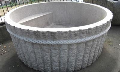 御影石 彫刻 桶風呂 石風呂 桜御影 露天風呂