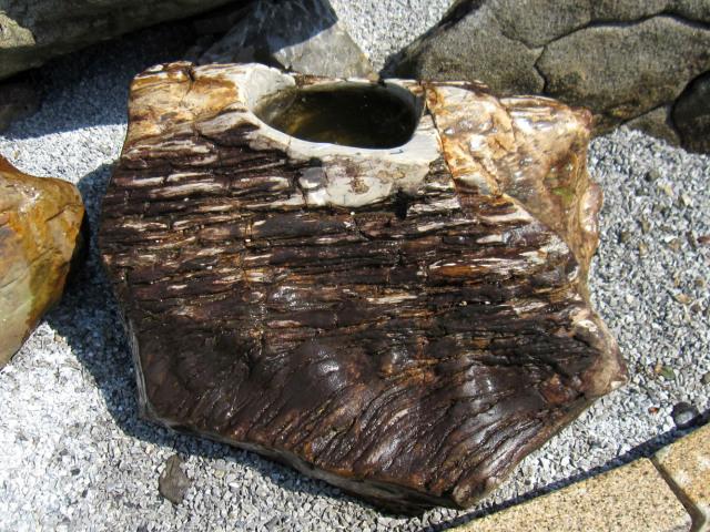 珪化木 水鉢 庭石 手水鉢 つくばい 溜まり石 木化石 景石 蹲
